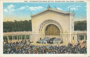 Afternoon Pipe Organ Recital, Balboa Park, San Diego, CA, early postcard, Unused