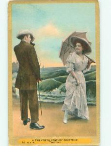 Divided-Back ROMANTIC COUPLE Great Postcard AA7543