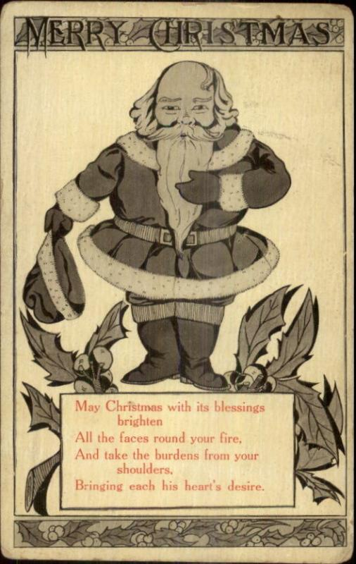 Christmas - Santa Claus w/ Hat Off - Poem c1915 Postcard