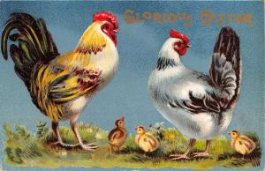 Pair Of Easter Greetings Roosters With Baby Chicks Glourious Antique PCs K28924