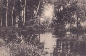 Fishing at Pacov River Czech Republic Antique Postcard