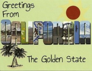 California Postcard - Handmade - Old Fashioned Big Letter Style Large Letter