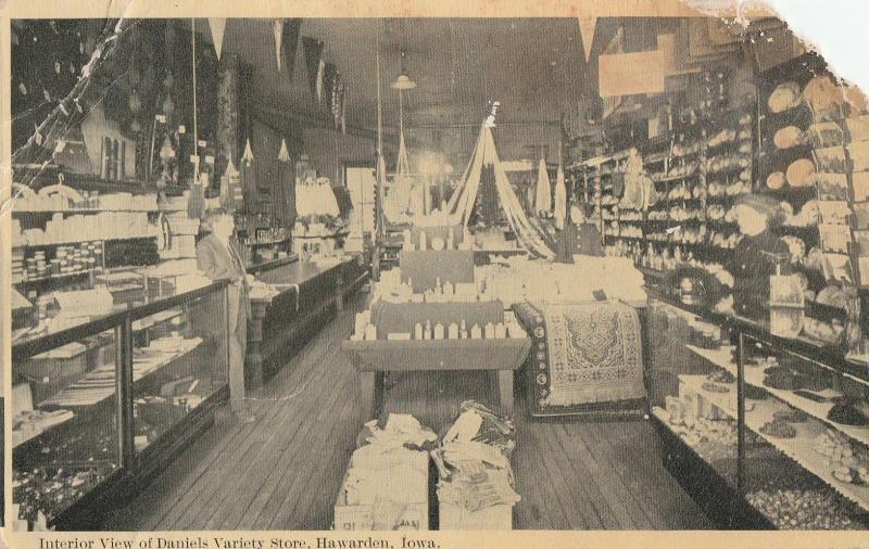 Hawarden IA Interior~Daniels Variety Store~Rugs~Dishes~Pennants~Wood Floor c1910