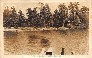 Canada Postcard Real Photo RPPC Ontario 1951 MORSON Moen's Camp Cottage Boat 1