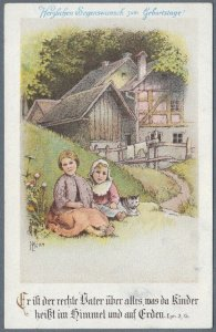 Old German Postcard Children in Front of Country House