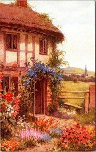 Farm House - Vintage Postcard - Flowers - Unposted