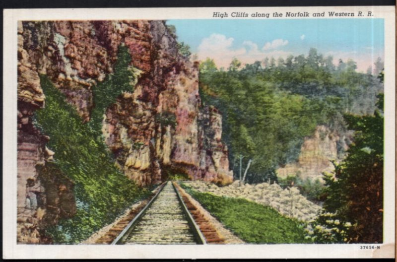 West Virginia High Cliffs along the Norfolk and Western R.R. - White Border