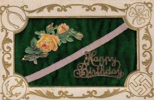 Happy Birthday Swastikas' Pinchusion Postcard , 00-10s