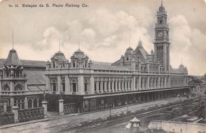 São Paulo Brazil~Luz Railway Station~Clock Tower~1907 B&W Postcard