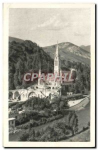 Old Postcard Lourdes Basilica and the Gave