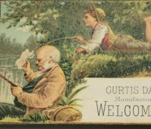 1880's Victorian Trade Card Welcome Soap Man and Boy Fishing Curtis Davis Co