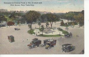 Postcard NY New York City NYC Manhattan Central Park Entrance Posted 1916