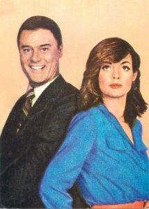 Postcard Actor film star movie man larry hangman linda gray suit dress beauty