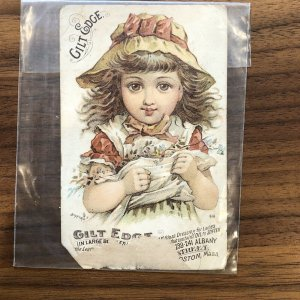 Trade Card Gilt Edge Leather Gloss Dressing Shoes Boston Mass Little Girl