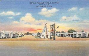 Indian Village Motor Lodges Cheyenne, WY Lincoln Highway Roadside Postcard 1947