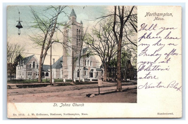 Postcard St Johns Church, Northampton, MA posted 1906 B15