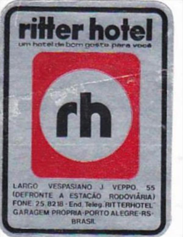 BRASIL PORTO ALEGRE RITTER HOTEL VINTAGE LUGGAGE LABEL