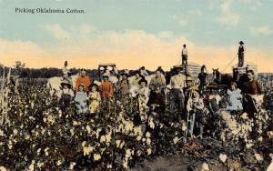 Oklahoma Cotton Pickers~Whole Farm Families~Moms Dads Kids~Bale Wagons~1910 PC