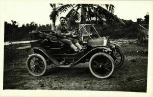 Man in Old Car of Unknown Brand (1910s) RPPC Postcard