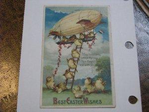 Postcard Easter Airship Dirigible Chicks Peeps #8000 International Art 1911 post