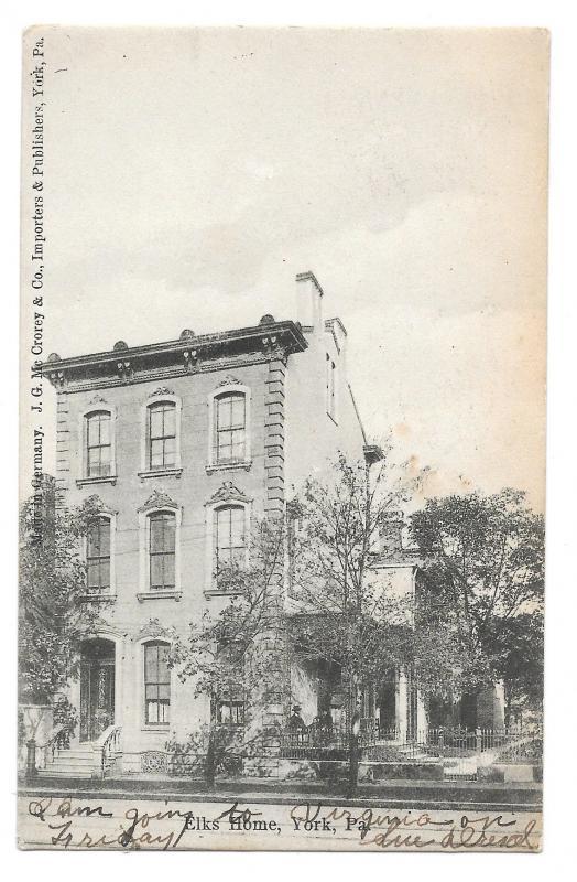 ork PA Elks Home Fraternal Organization Lodge Building Vintage 1906 Postcard