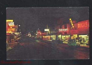 MCALLEN TEXAS DOWNTOWN MAIN STREET SCENE AT NIGHT VINTAGE POSTCARD CARS