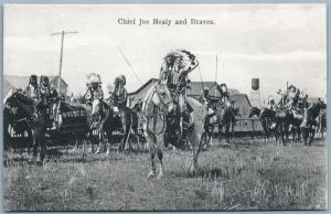 CHIEF JOE HEALY AND BRAVES ANTIQUE PRIVATE POSTCARD