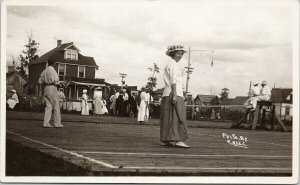 Tennis Players & Court Vancouver Island BC ?? E. Noel Real Photo Postcard F46