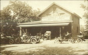 Montgomery PA Garage Machine Works Cars etc c1910 Real Photo Postcard