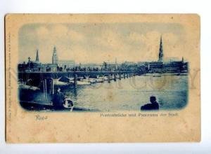 173496 LATVIA RIGA pontoon bridge Vintage postcard