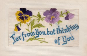 EMBROIDERED, 1900-10s; Far from You but thinking of You, Purple & gold flowers