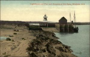 Wolfville NS Nova Scotia Lighthouse & Pier c1910 Postcard