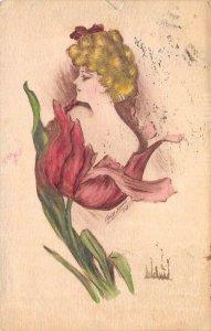 Woman In Flower Artist-Signed Cobb Shinn 1910 Hand-Colored Art Vintage Postcard