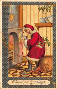 Christmas Greetings Red Suited Santa Claus Stockings Toys Postcard 211