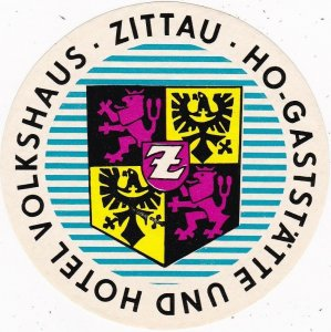 Germany Zittau Hotel Volkshaus Vintage Luggage Label sk3867