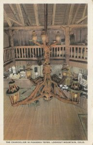LOOKOUT MOUNTAIN, Colorado, 1910-1920s; The Chandelier in Pahaska Tepee