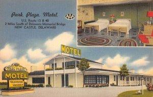 New Castle Delaware Park Plaza Motel Multiview Antique Postcard KK2032