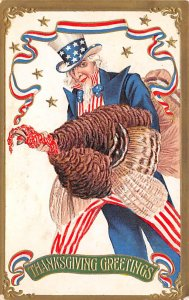 Uncle Sam Thanksgiving Greetings USA 1907