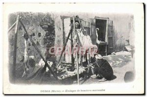 Old Postcard Oudja Etalages Moroccan butchers