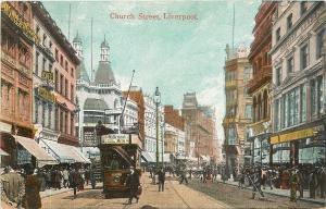 Liverpool England~Church Street~Cafe~Double Decker Trolley~Milkmail Milk~1908 PC