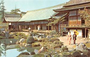Japan Old Vintage Antique Post Card Pan Am, Samboin Temple Gardens Kyoto Unused