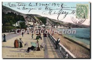 Old Postcard Menton Promenade du Midi during the Music