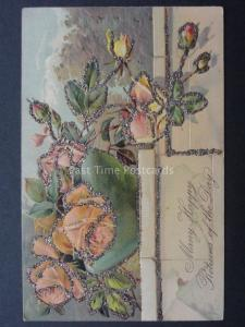Embossed & Glittered Birthday Greeting: MANY HAPPY RETURNS OF THE DAY c1907
