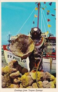 Sponge Diver With His Catch Of Sponges Greetings From Tarpon Springs Florida