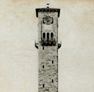 1909 Clock Tower Fort Sam Houston, Texas B&W RPPC Topeka Kansas