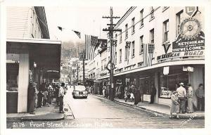 Ketchikan AK Busy Front Street Store Fronts Pan Am Building RPPC Postcard