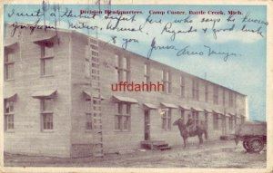 DIVISION HEADQUARTERS, CAMP CUSTER, BATTLE CREEK, MI 1918 getting ready to train