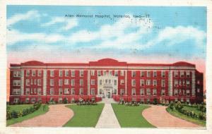 Waterloo, Iowa, IA, Allen Memorial Hospital, 1938 Linen Vintage Postcard g850