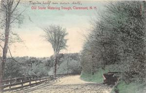 Claremont New Hampshire~Old Stone Watering Trough~Fence Along Road~1906 Postcard