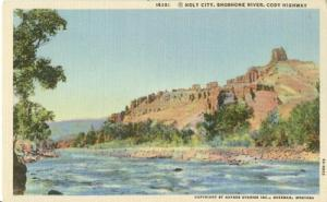 Holy City, Shoshone River, Cody Highway, unused linen Pos...